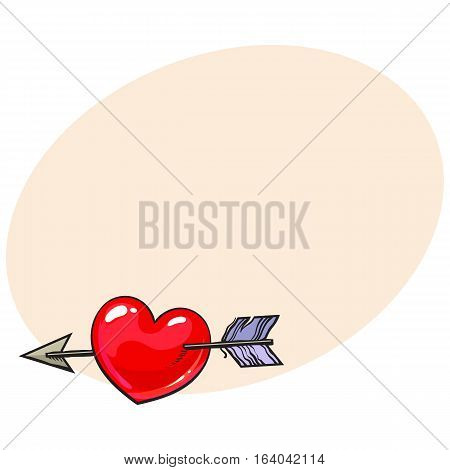 Red shiny cartoon heart pieced by Cupid arrow, sketch style illustration isolated on background with place for text. Heart pierced by arrow, symbol of love, romance and passion, marriage icon
