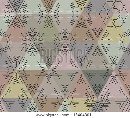 Seamless vector linear geometric pattern of black snowflakes triangles on background. Hipster style, gray and purple shades.