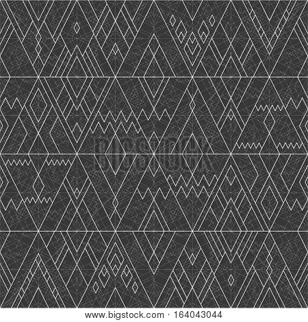 Vector seamless white geometric line pattern of triangles and rhombus on black dark background in hipster style.