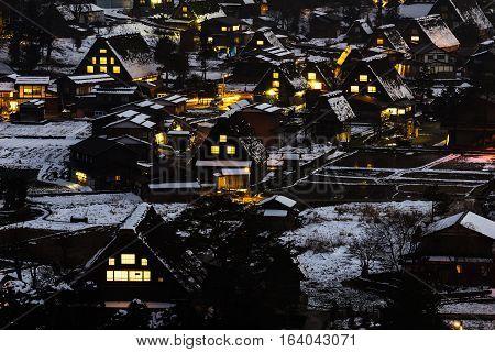 Nightview of Gassho Zukuri (Gassho-style) Houses of Shirakawa-Go in Gifu, Japan.