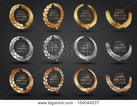 Wreath vector icon set .Laurel wreaths symbol of victory, glory and success. 3d vector illustration. Design element. Top places.