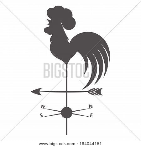 Weather vane. Gray rooster on a white background