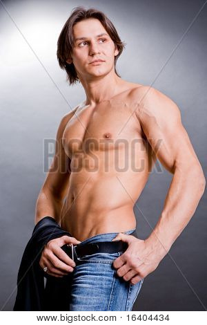 muscular sexy man with a naked torso