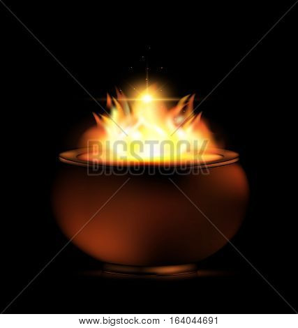 black background and the burning pot in the darkness