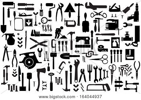 Set of retro building tools and accessories household goods