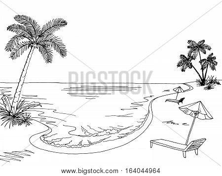 Sea coast graphic black white landscape sketch illustration vector