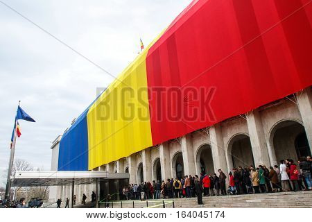 BUCHAREST ROMANIA - DECEMBER 1 2012: People are attending the Open Doors Day at the Romanian Government building in Bucharest during National Day of Romania.