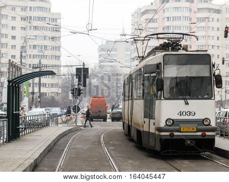 Bucharest Romania January 30 2016: A tram is running on the rails for tests in Bucharest.