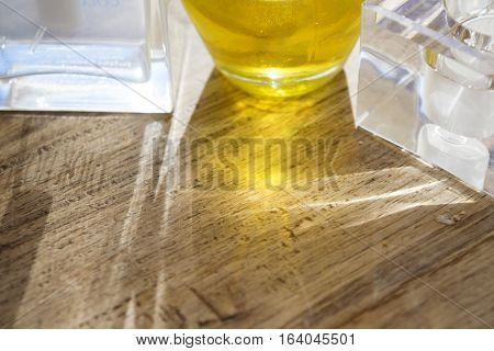 backlight though glass objects with effects of colored rays of light