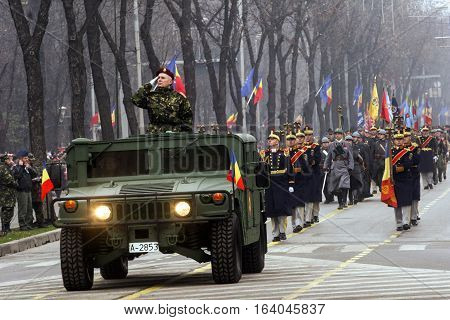 BUCHAREST ROMANIA - DECEMBER 1 2009: Military from different armies are taking part to a military parade on National Day of Romania. More than 3000 soldiers and personnel from security agencies take part in the massive parades on National Day of Romania.
