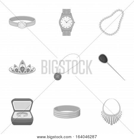 Jewelry and accessories set icons in monochrome design. Big collection of jewelry and accessories vector symbol stock illustration
