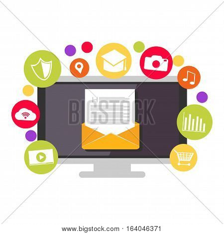 Email contents. Multimedia social email. Email marketing.