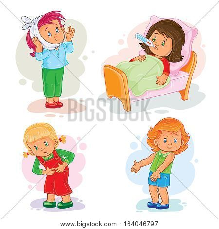 Set of vector icons little girl sick