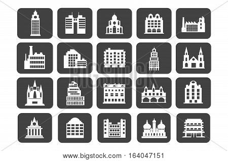 home Icons of houses silhouettes in black