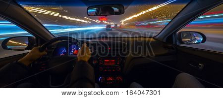 The Car Moves At The Night.
