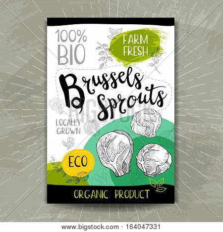 Colorful label in sketch style, food, spices. Brussels Sprouts. Naturally fresh. eco, bio, vegan food, sticker. Hand drawn vector illustration.