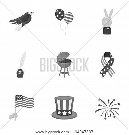 Patriot Day set icons in monochrome style. Big collection of Patriot Day vector symbol stock
