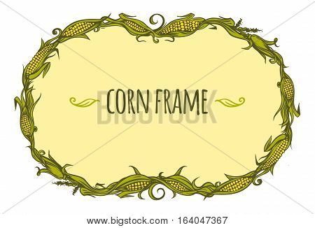 Hand drawn oval corn frame, vector illustration