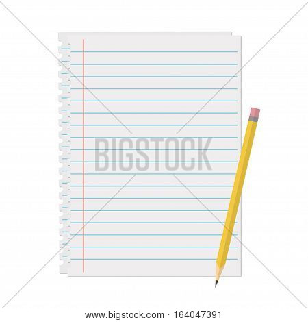 Line a sheet of paper with margins vector illustration in flat style. Clean sheet of paper for notes reminders to-do lists and plans. Office and business supplies.