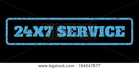 Light Blue rubber seal stamp with 24X7 Service text. Vector message inside rounded rectangular banner. Grunge design and dirty texture for watermark labels. Horisontal sign on a black background.