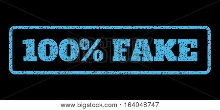 Light Blue rubber seal stamp with 100 Percent Fake text. Vector tag inside rounded rectangular banner. Grunge design and dust texture for watermark labels. Horisontal sticker on a black background.