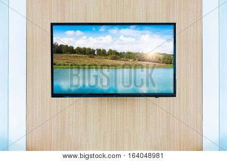 Black LED tv television screen mockup. Landscape on monitor