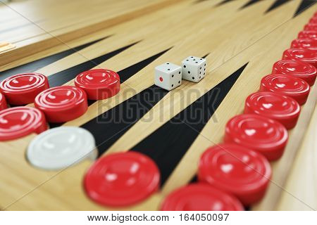 Backgammon Game And Dices On Game Board. Closeup