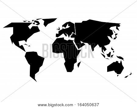 World map silhouette - simplified black vector shape divided into six continents - South America, North America, Europe, Africa, Asia and Australia