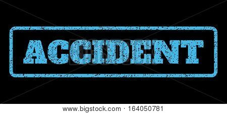 Light Blue rubber seal stamp with Accident text. Vector tag inside rounded rectangular frame. Grunge design and scratched texture for watermark labels. Horisontal sticker on a black background.