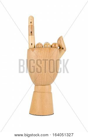 wooden hand show a little finger isolated on white background