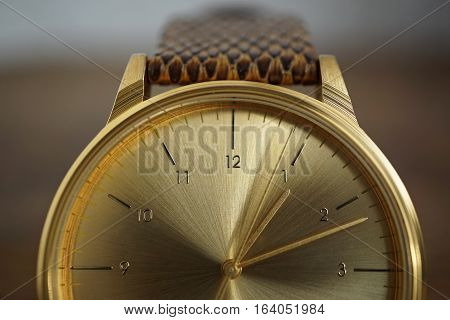 Detail of a golden watch with indented gold-plated crown as a symbol of time or exactness