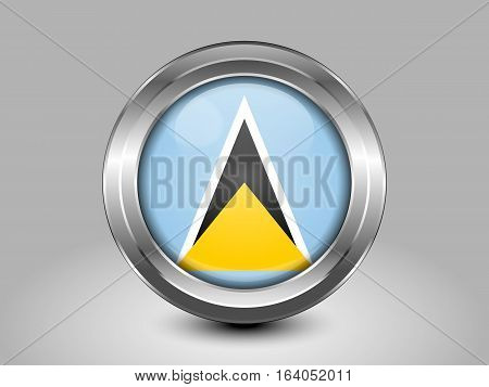 Flag Of Saint Lucia. Metal And Glass Round Icon