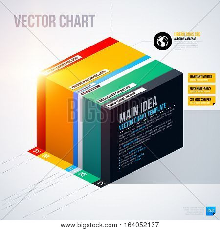 Infographics Chart Template With Isometric Cube. Useful For Presentations And Advertising.