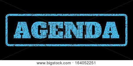 Light Blue rubber seal stamp with Agenda text. Vector caption inside rounded rectangular banner. Grunge design and dust texture for watermark labels. Horisontal sticker on a black background.