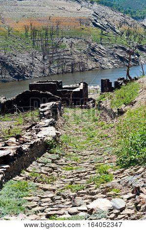 Views Of The Ruins Of The Village Of Chave, Strains And Terraces Of Vineyards In The Ribeira Sacra,