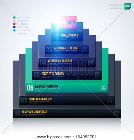 3D Pyramid Chart Template On White Background. Eps10