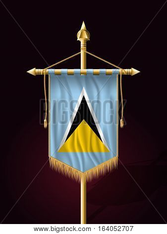 Flag Of Saint Lucia. Festive Vertical Banner With Flagpole