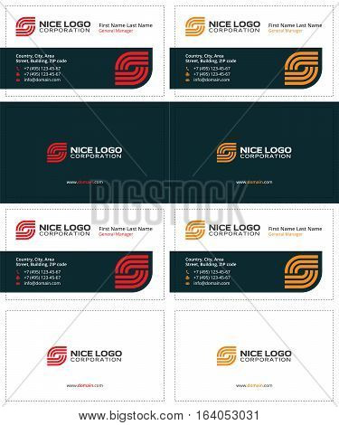 business card Internet service provider, creative colored cards, red and yellow colors