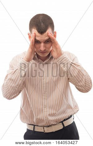Horrified Man Thinking, Portrait On A White Background