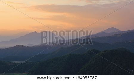 Hills near Pokhara at sunset. View from a place near Begnas Tal.