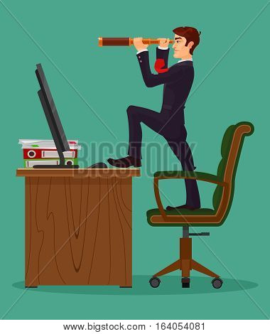 Vector illustration of farsighted businessman boss looks in a spyglass, metaphor