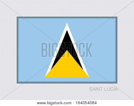 Flag of Saint Lucia. Rectangular Official Flag. Aspect Ratio 2 to 3. Under Gray Cardboard with Inner Shadow
