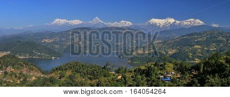 Landscape near Pokhara Nepal. High mountains of the Annapurna range. Lake Begnas Tal.