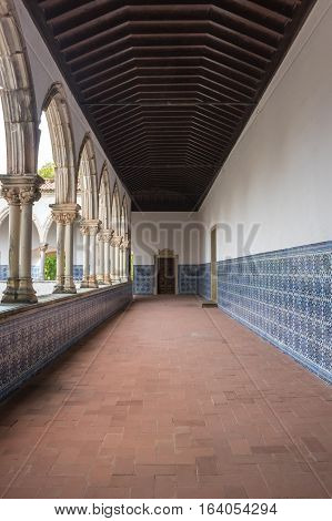 TOMAR, PORTUGAL - OCTOBER 17, 2015: The Convent of Christ is a former Roman Catholic monastery in Tomar Portugal. The convent was founded by the Order of Poor Knights of the Temple (or Templar Knights) in 1118