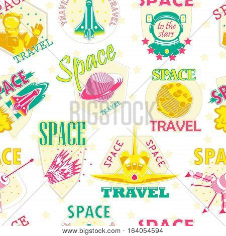 Vector seamless pattern of cosmic icons, logos. Wallpaper with a pattern of cosmic emblems