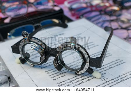 Glass Optometry Test And Many Types Of Glasses At Glasses Shop