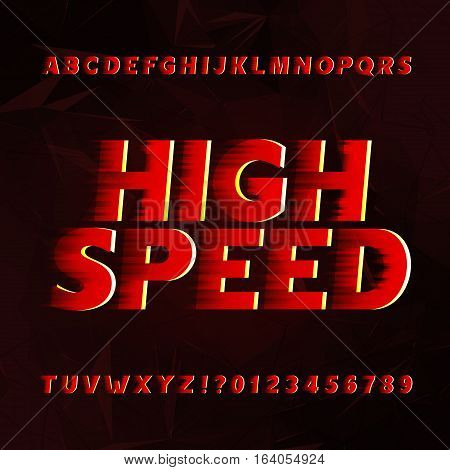 Speed alphabet vector font. Wind effect type letters and numbers on a abstract background. Vector typeface for your design.