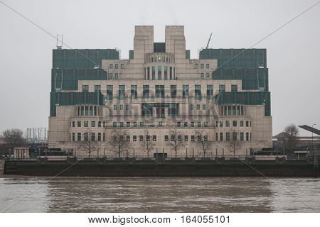 London, UK - 19 December 2016: Building of Secret Intelligence Service MI6