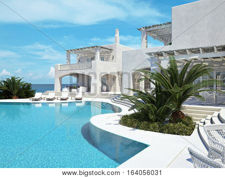 3d rendering. Villa with swimming pool. summer concept
