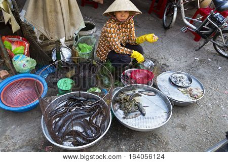 MY THO VIETNAM - FEBRUARY 15: Woman sells fish on street market on February 15 2012 in My Tho Vietnam.
